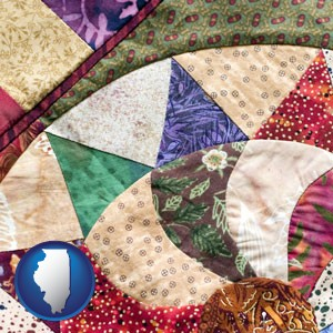 a patchwork quilt - with Illinois icon