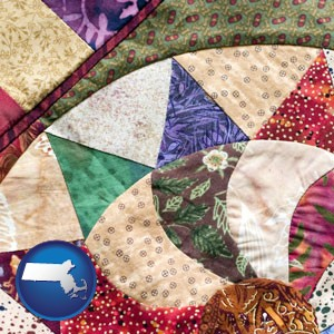a patchwork quilt - with Massachusetts icon