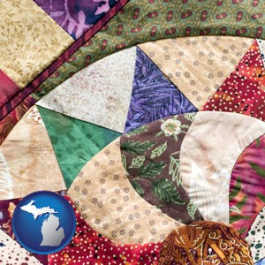 a patchwork quilt - with Michigan icon