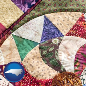 a patchwork quilt - with North Carolina icon
