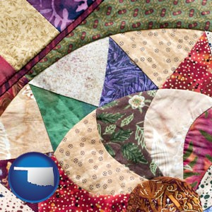 a patchwork quilt - with Oklahoma icon