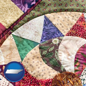 a patchwork quilt - with Tennessee icon