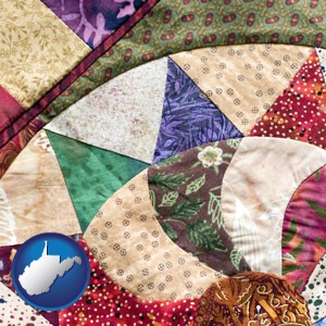 a patchwork quilt - with West Virginia icon