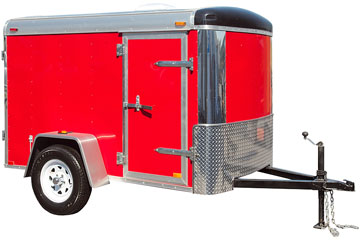 a red, enclosed trailer