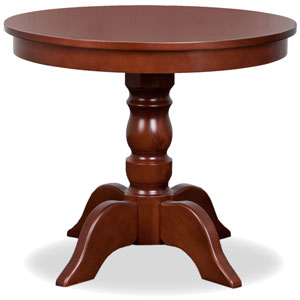 a traditional round table made from cherry wood
