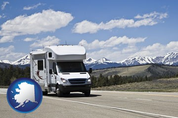 recreational vehicle and snow-capped mountains - with Alaska icon