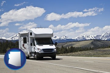 recreational vehicle and snow-capped mountains - with Arizona icon