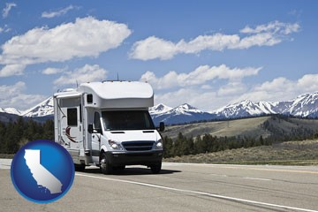 recreational vehicle and snow-capped mountains - with California icon