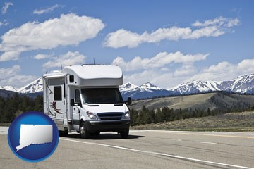 recreational vehicle and snow-capped mountains - with Connecticut icon
