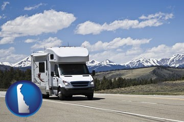 recreational vehicle and snow-capped mountains - with Delaware icon