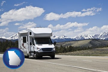 recreational vehicle and snow-capped mountains - with Georgia icon