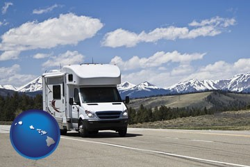 recreational vehicle and snow-capped mountains - with Hawaii icon