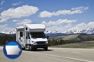 recreational vehicle and snow-capped mountains - with Iowa icon
