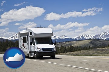recreational vehicle and snow-capped mountains - with Kentucky icon