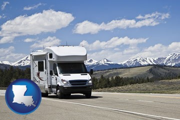 recreational vehicle and snow-capped mountains - with Louisiana icon