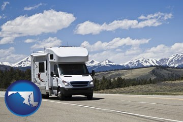 recreational vehicle and snow-capped mountains - with Maryland icon
