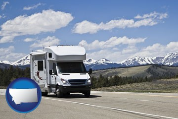 recreational vehicle and snow-capped mountains - with Montana icon