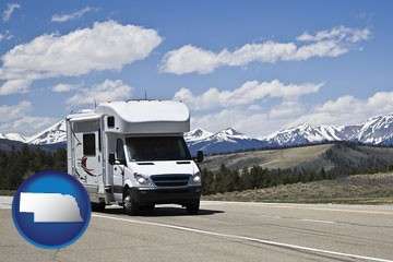 recreational vehicle and snow-capped mountains - with Nebraska icon