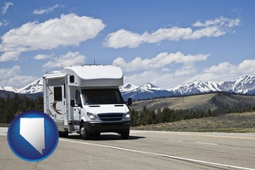 recreational vehicle and snow-capped mountains - with Nevada icon