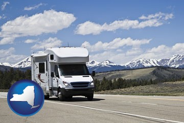 recreational vehicle and snow-capped mountains - with New York icon