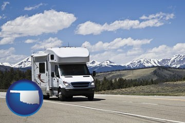 recreational vehicle and snow-capped mountains - with Oklahoma icon
