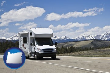 recreational vehicle and snow-capped mountains - with Oregon icon