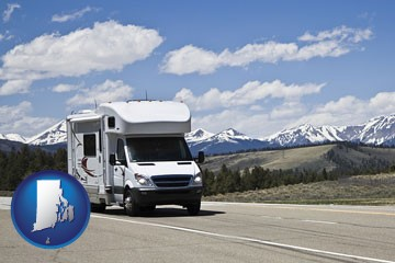 recreational vehicle and snow-capped mountains - with Rhode Island icon