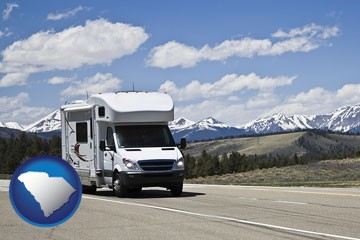 recreational vehicle and snow-capped mountains - with South Carolina icon
