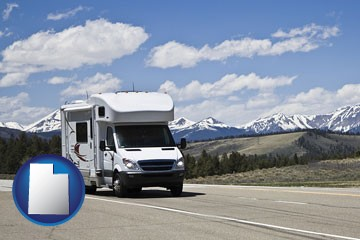 recreational vehicle and snow-capped mountains - with Utah icon