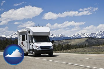recreational vehicle and snow-capped mountains - with Virginia icon