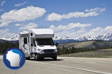 recreational vehicle and snow-capped mountains - with Wisconsin icon