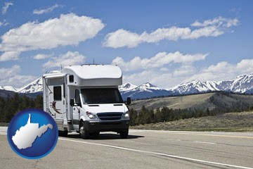 recreational vehicle and snow-capped mountains - with West Virginia icon
