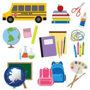 back-to-school supplies - with Alaska icon