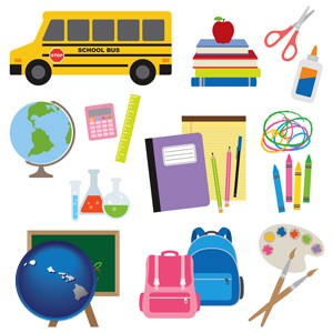 back-to-school supplies - with Hawaii icon
