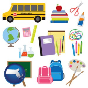 back-to-school supplies - with Massachusetts icon