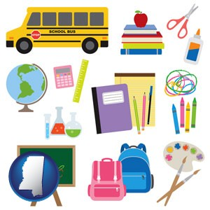 back-to-school supplies - with Mississippi icon