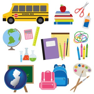 back-to-school supplies - with New Jersey icon