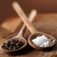 coarse salt and peppercorns