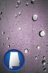 al map icon and water droplets on a shower door