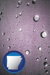 ar map icon and water droplets on a shower door