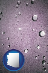 az map icon and water droplets on a shower door
