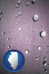 il map icon and water droplets on a shower door