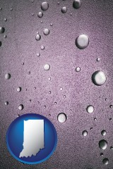 in map icon and water droplets on a shower door