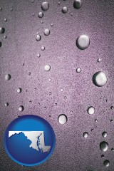 md map icon and water droplets on a shower door