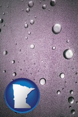 mn map icon and water droplets on a shower door
