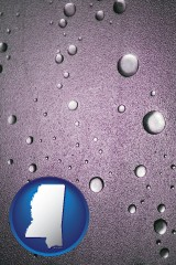ms map icon and water droplets on a shower door