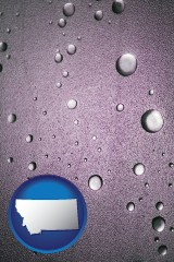 mt map icon and water droplets on a shower door