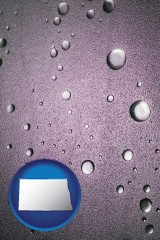 nd map icon and water droplets on a shower door