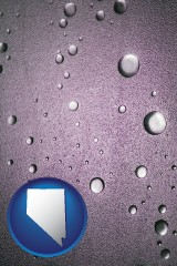 nv map icon and water droplets on a shower door