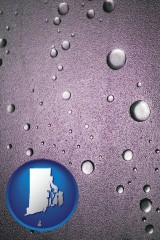 ri map icon and water droplets on a shower door